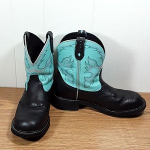 Justin black and turquoise Gypsy boots size 9b